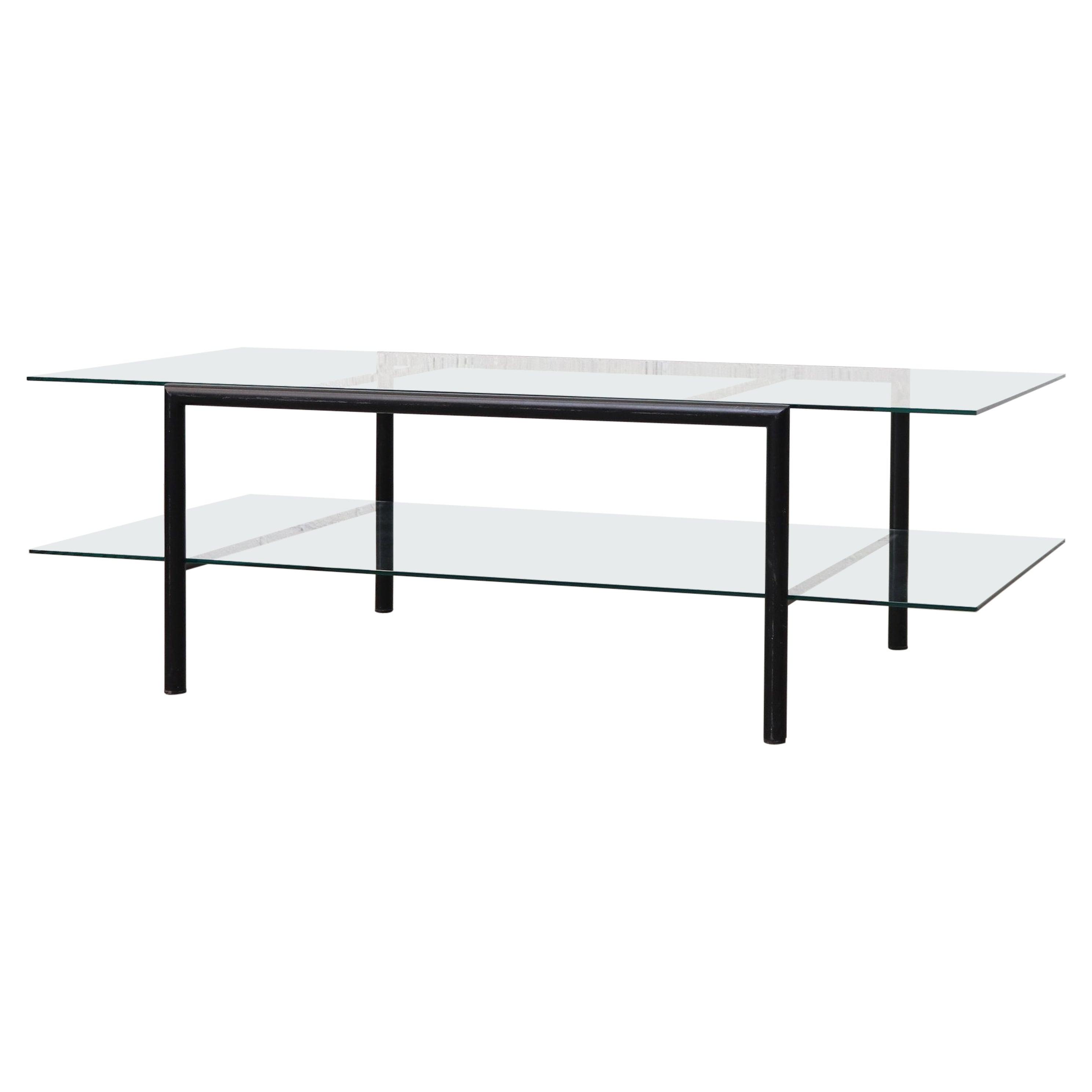 Martin Visser Style Two Tiered Glass Coffee Table With Black Metal