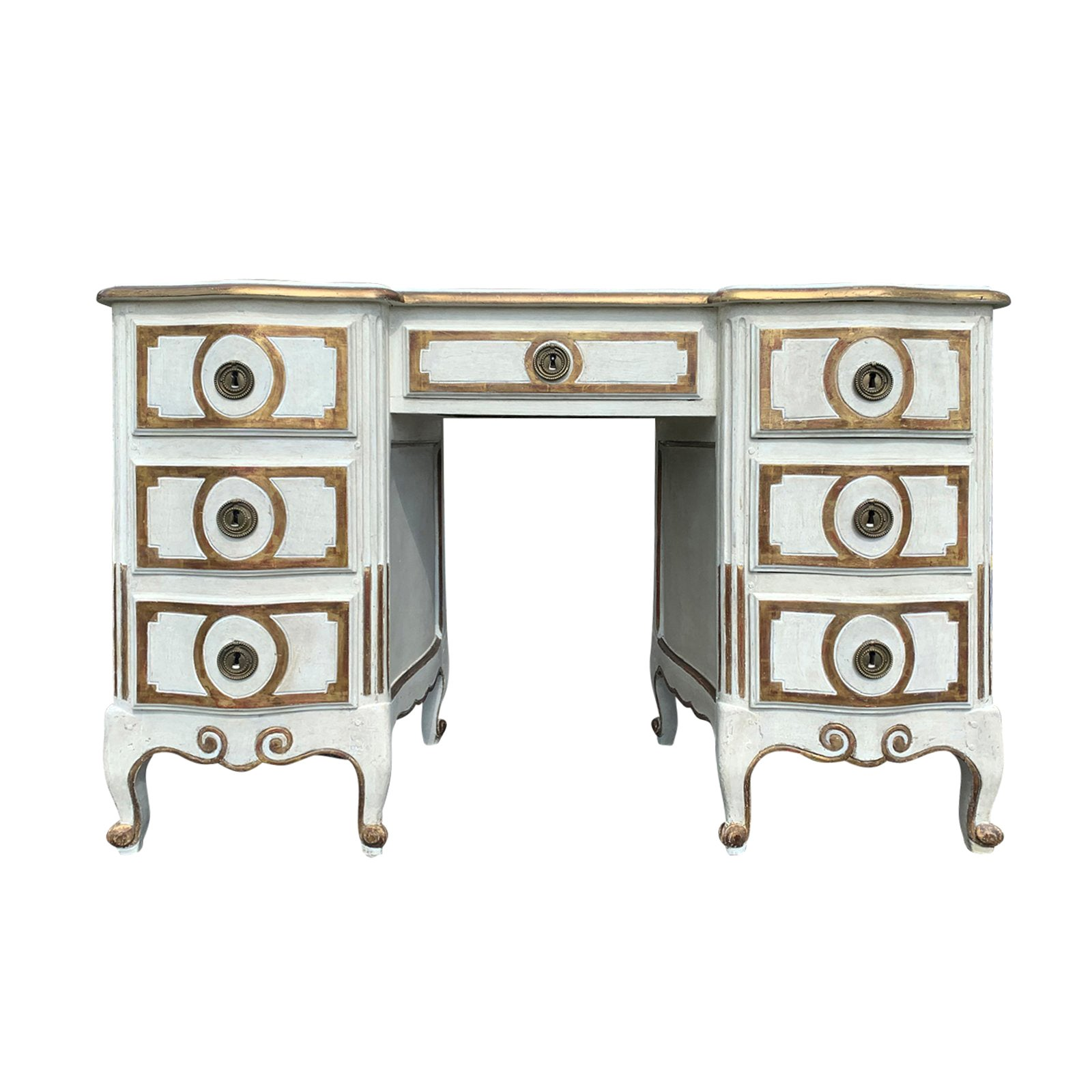 20th Century Italian Dressing Table/Desk, Painted White & Gold