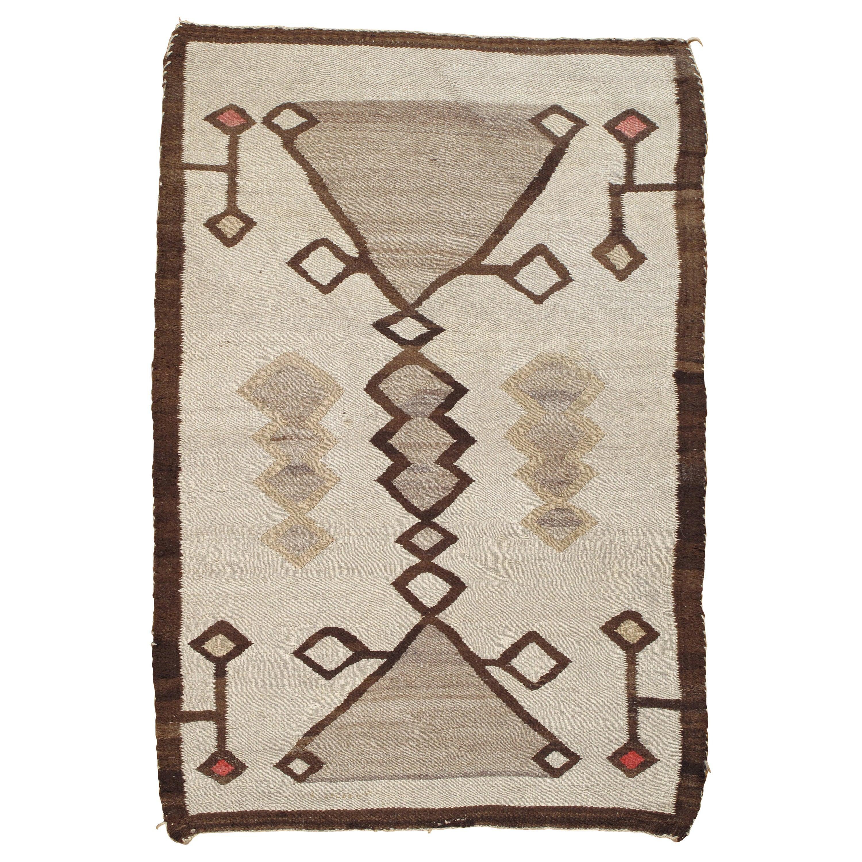 Antique Navajo Rug, Handmade Wool Oriental Rug, Caramel, Beige, Taupe and Brown