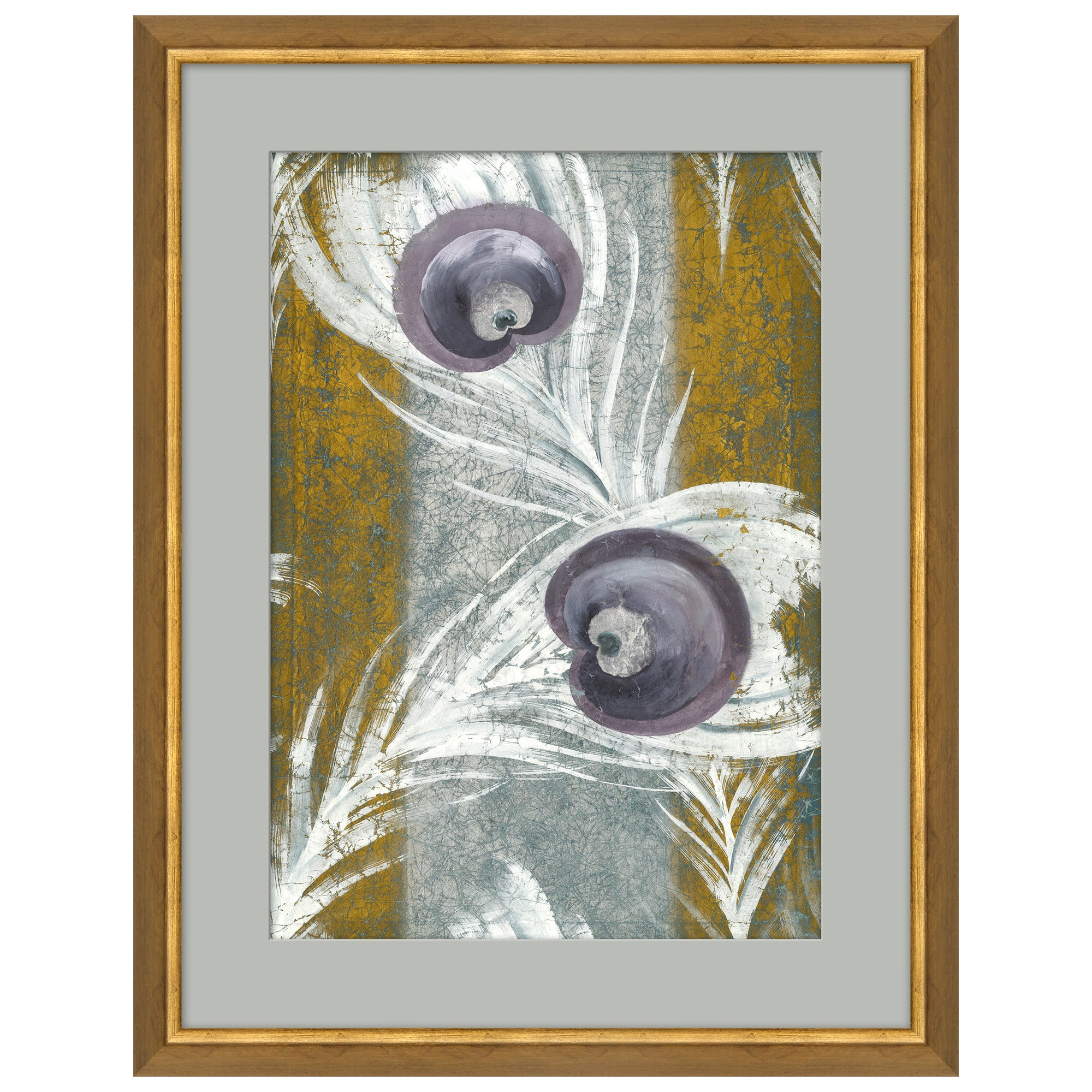 Peacock Feathers Japanese Print in Gray & Blue by CuratedKravet