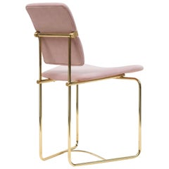 Peter Ghyczy Contemporary Chair Urban 'S02' Brass Gloss / Pink Fabric, Handmade