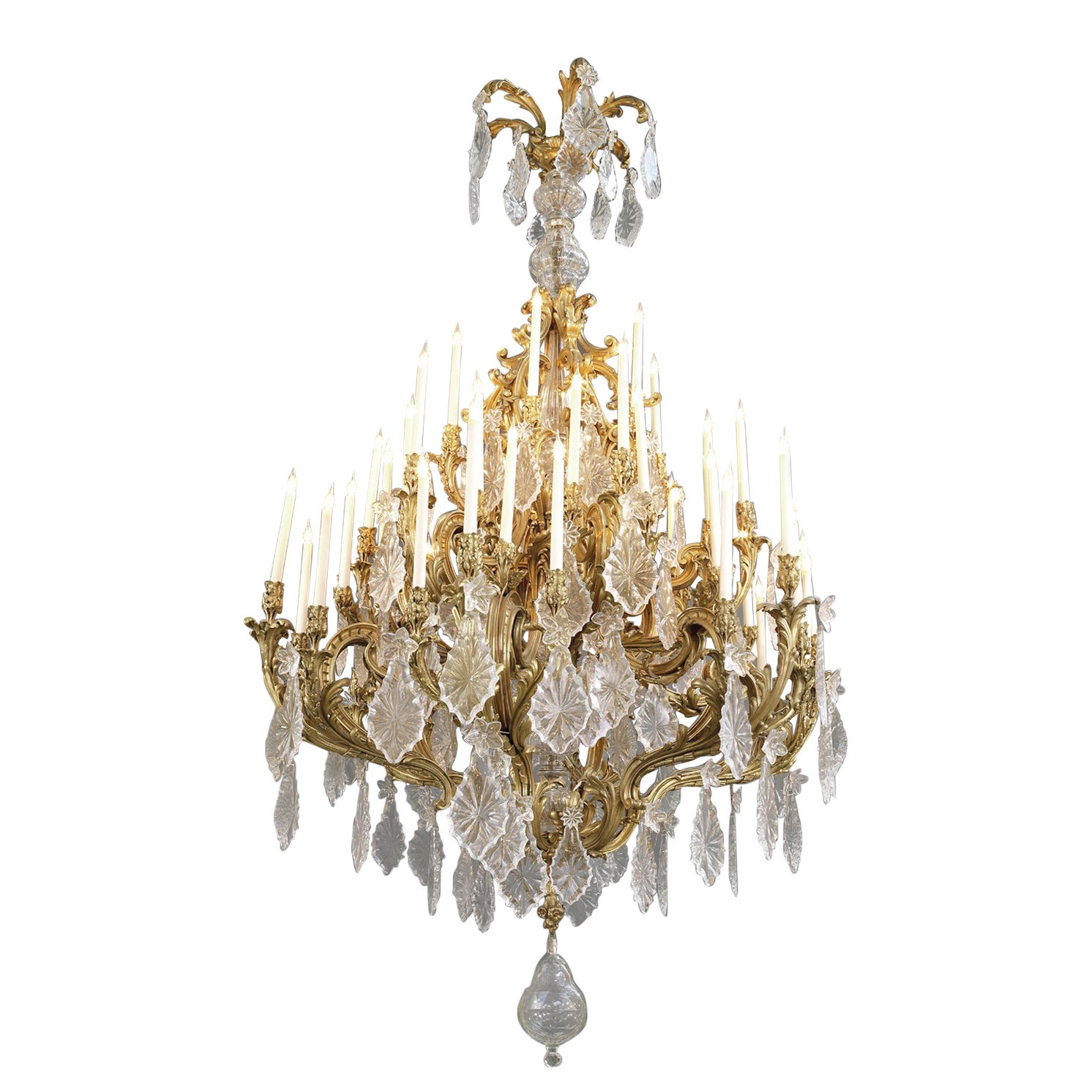 Monumental Louis XV Style Cut-Glass Forty-Eight Light Chandelier, circa 1885
