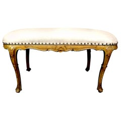 Antique Italian Regence Louis XV Style Painted Bench