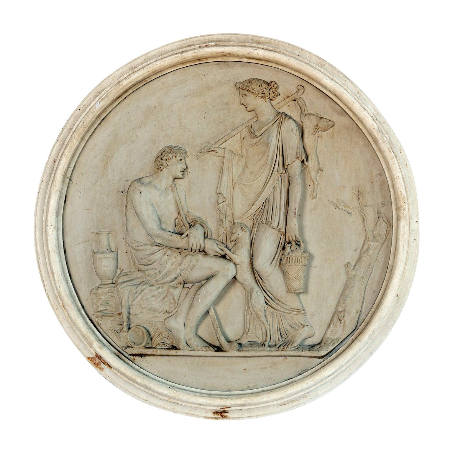 Round Medallion Synthetic Plaster of Greek Mythological Figures