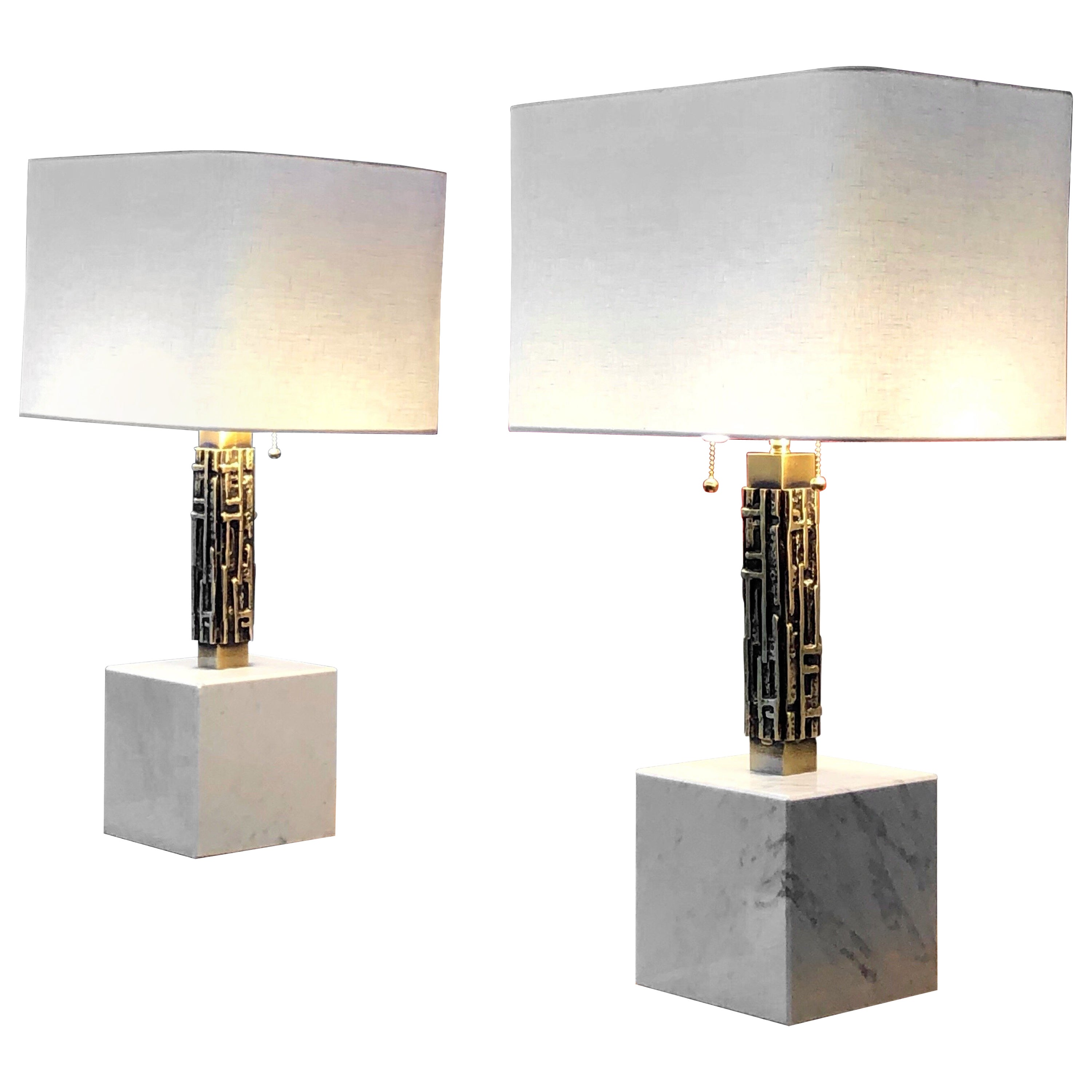Luciano Frigerio Pair of Large Bronze and Marble Table Lamps, 1970s