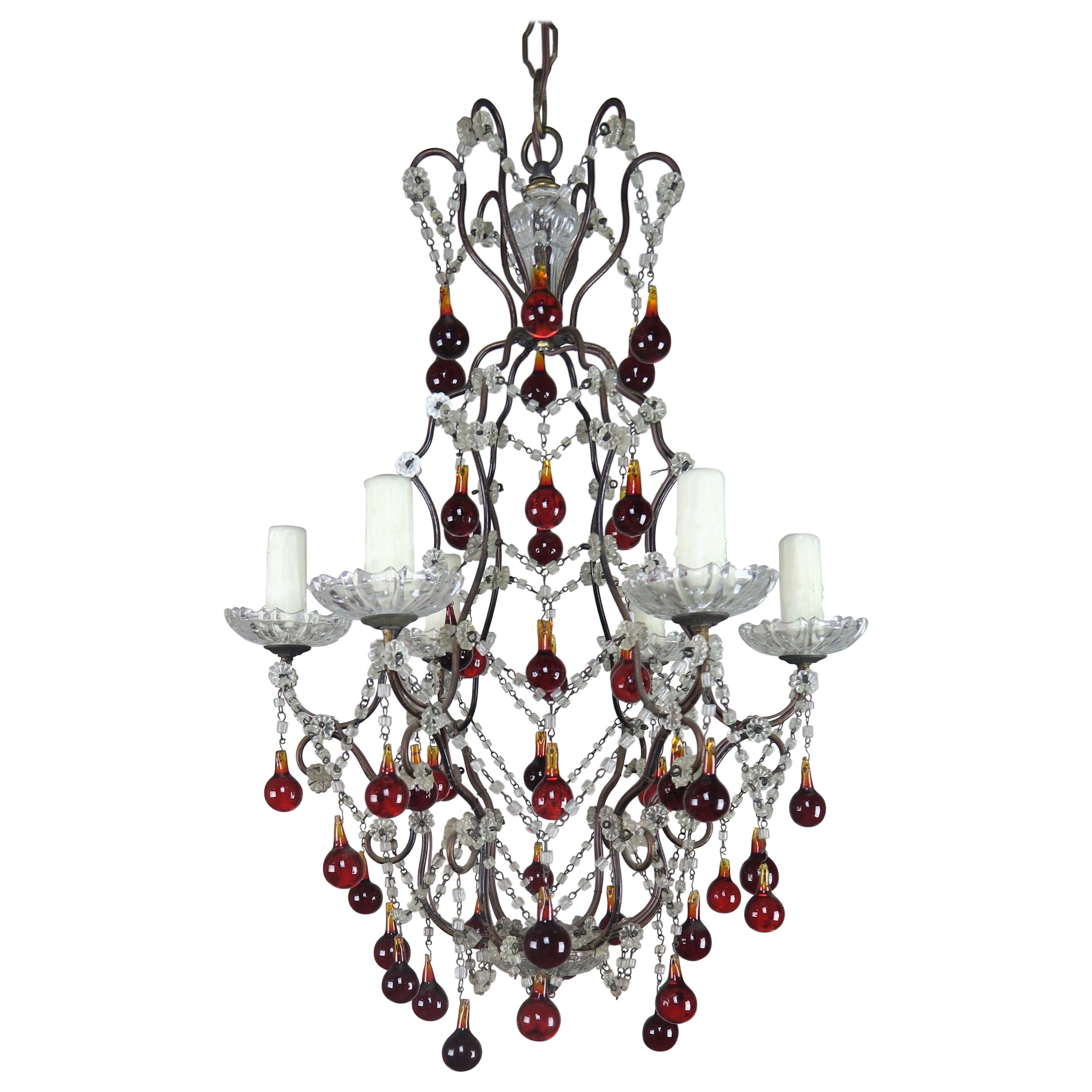 Italian Six-Light Crystal Beaded Chandelier with Vibrant Colored Drops