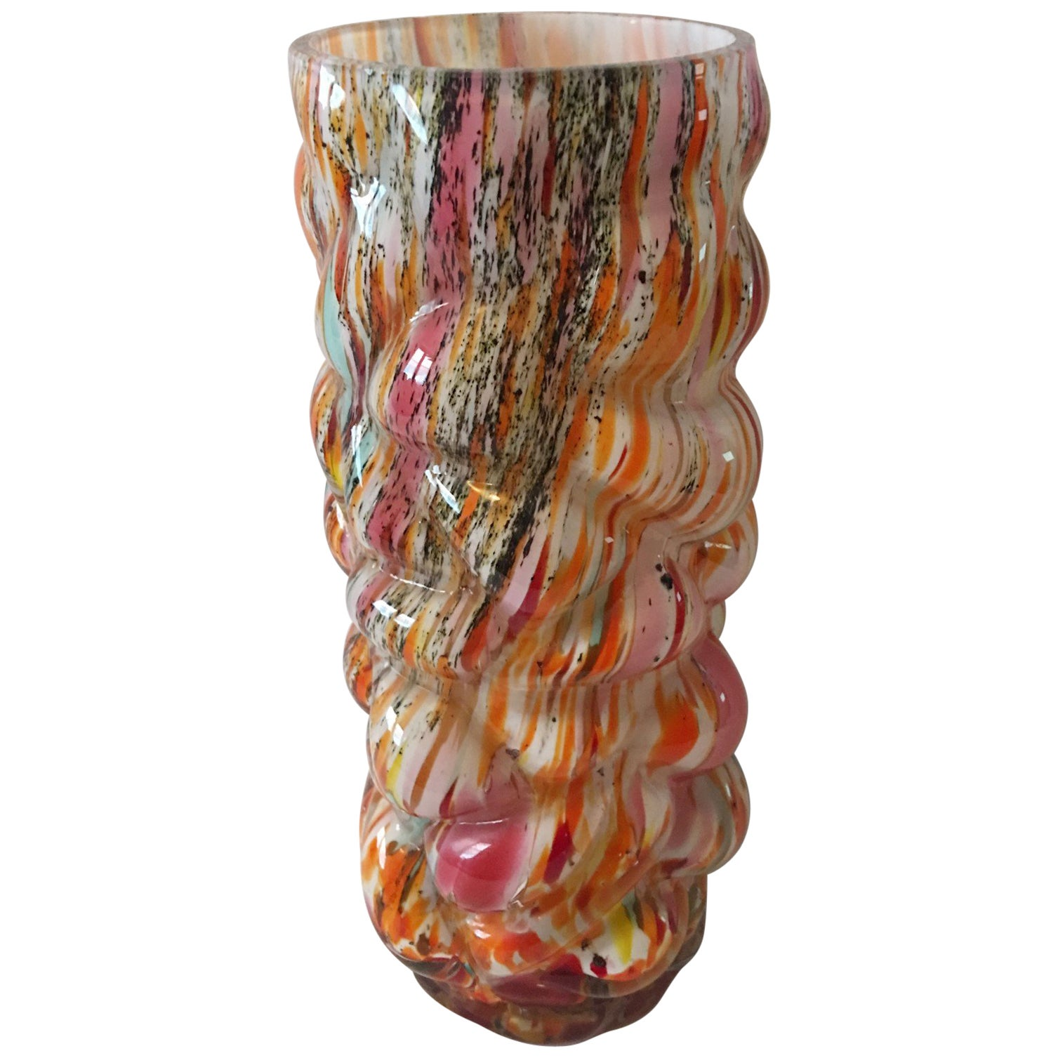 Multi-Color Hand Blown Murano Glass Vase from 1960s Italy