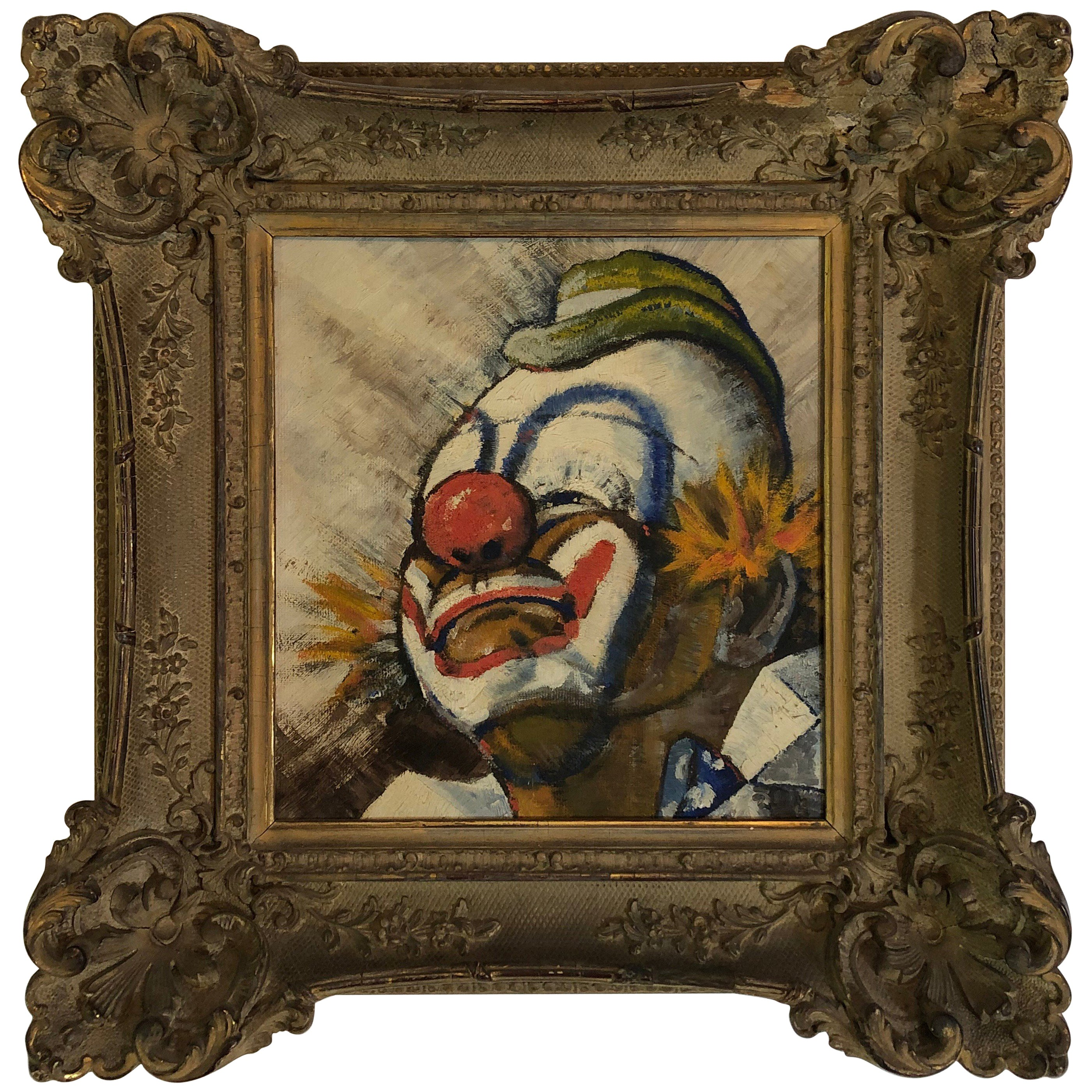 Early 20th Century Painting of a Clown in Antique Frame