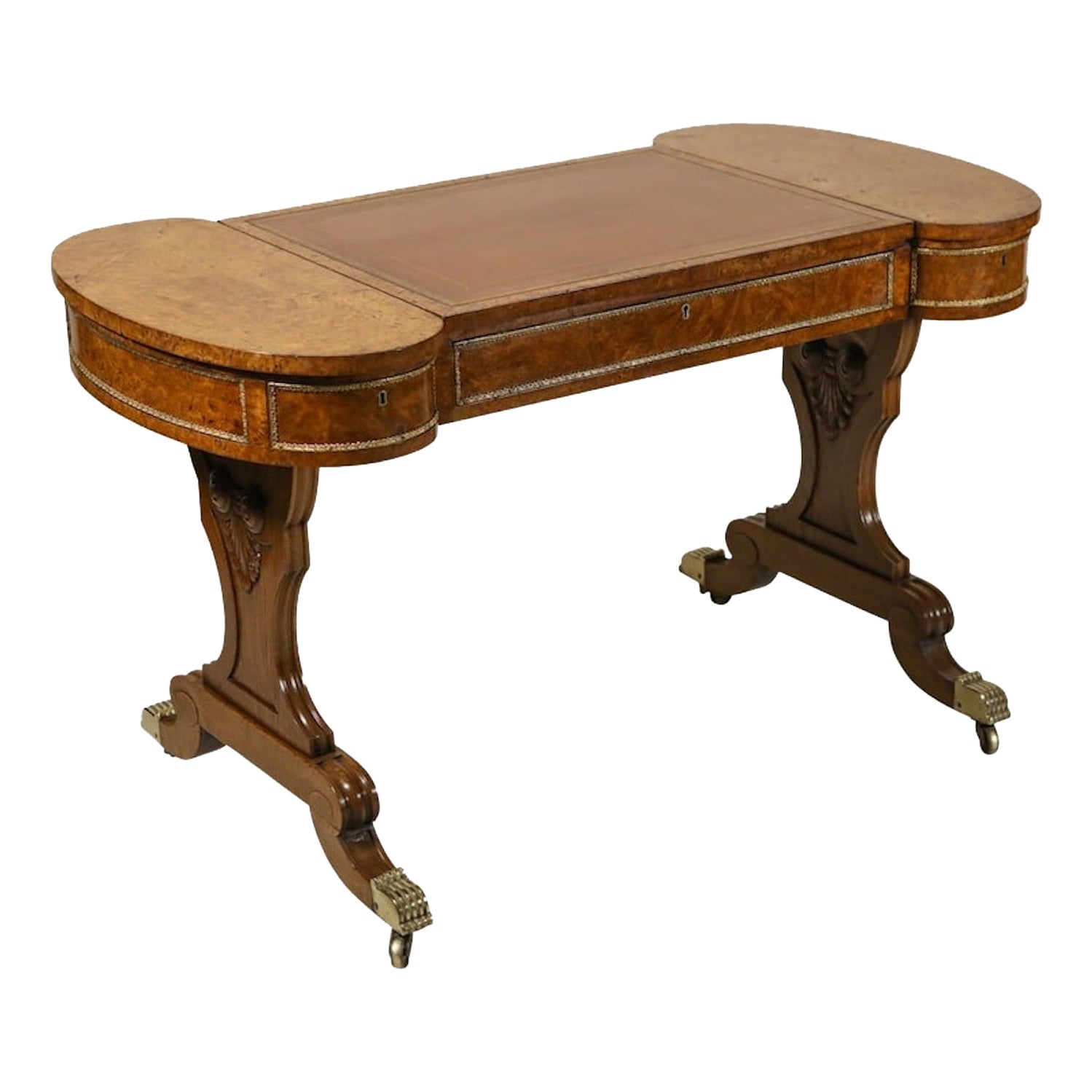 Early 19th Century Brass-Mounted Pollard Oak Writing Table