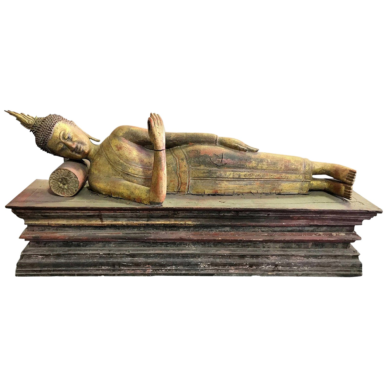 Large Carved Wood, Lacquer and Gilt Reclining Temple Shrine Buddha
