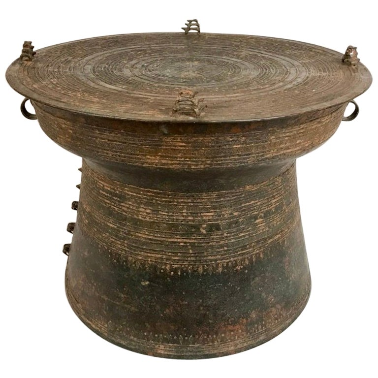 Burmese Bronze Rain Drum Side Table