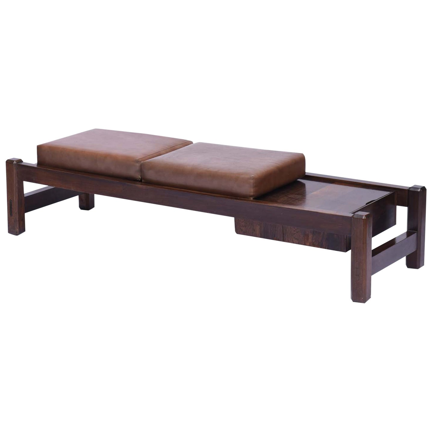 Midcentury Brazilian Bench with Rosewood Structure and a Drawer, 1960s