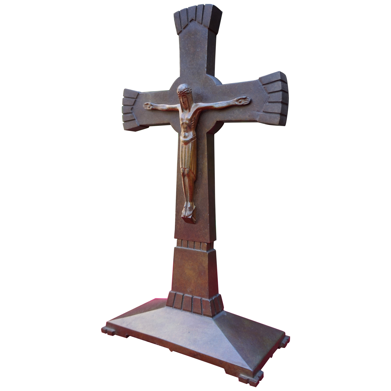 Beautifully Stylized & Great Condition Bronze Art Deco Crucifix w. Maker's Marks