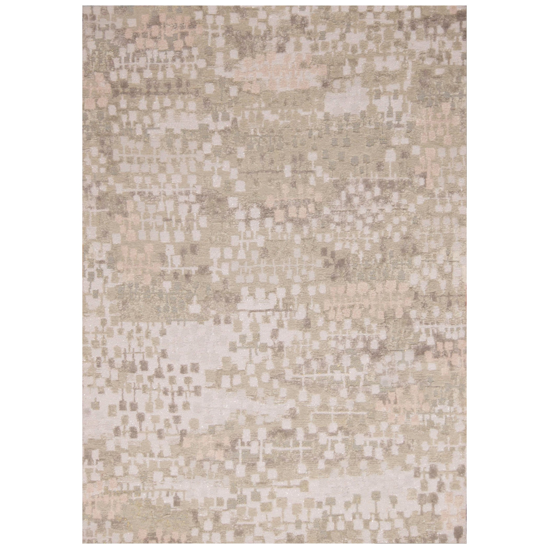 Contemporary Kaleidoscope Gray and Beige Wool Rug