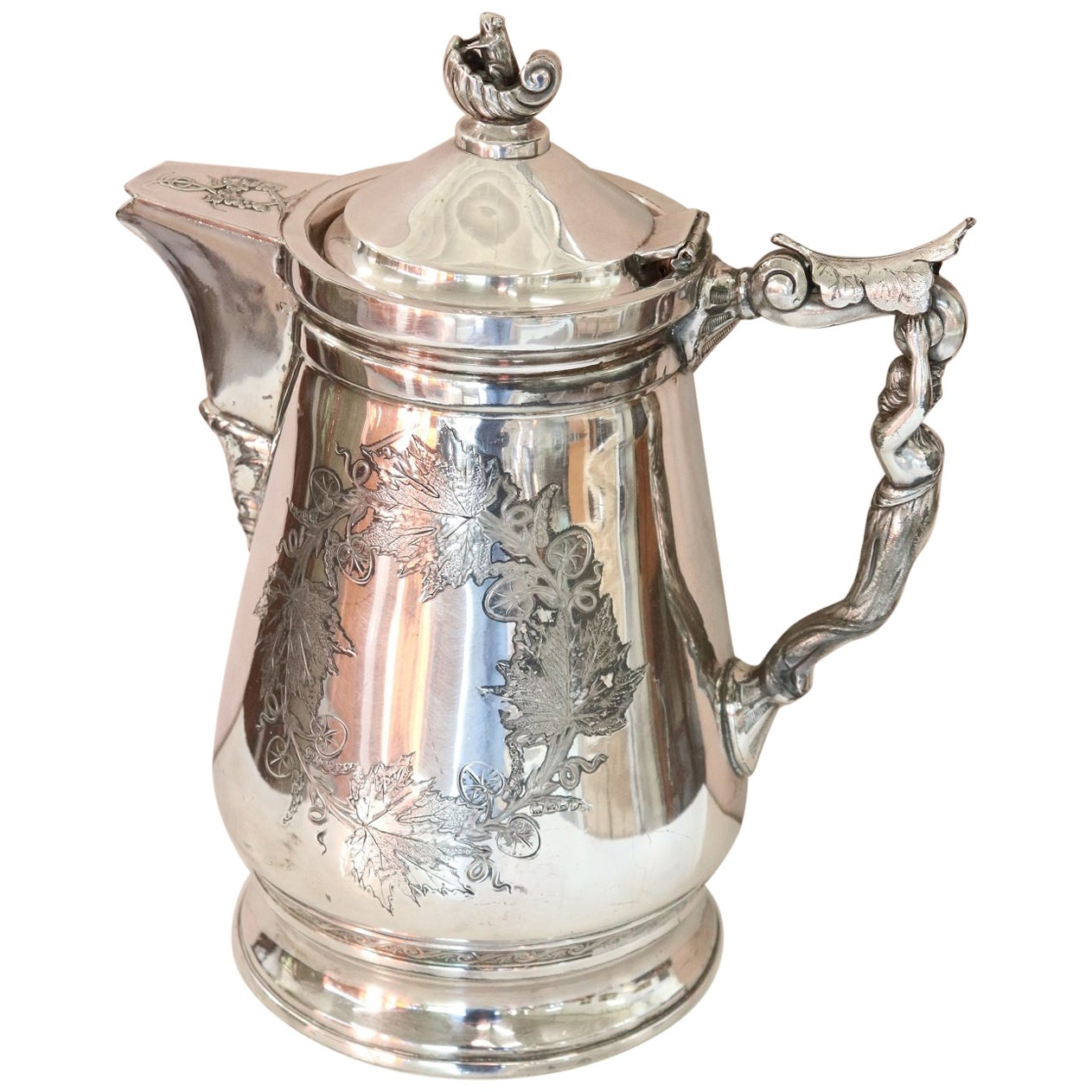19th Century American Antique Silver Plate Pitcher or Coffee Pot by Wilcox