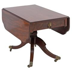 American Federal Drop-Leaf Library or Breakfast Table in Mahogany with Saber Leg