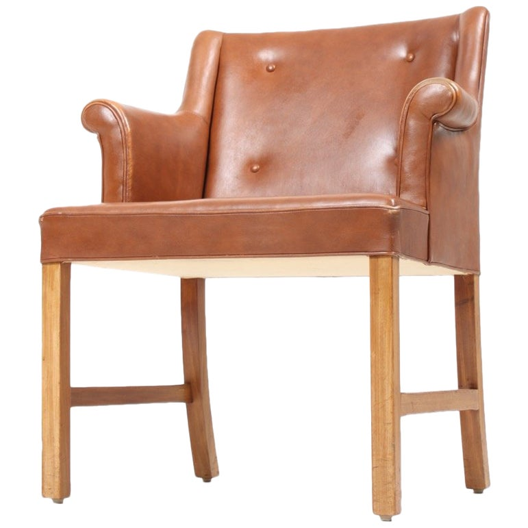 Classic Desk Chair in Leather by Ole Wanscher