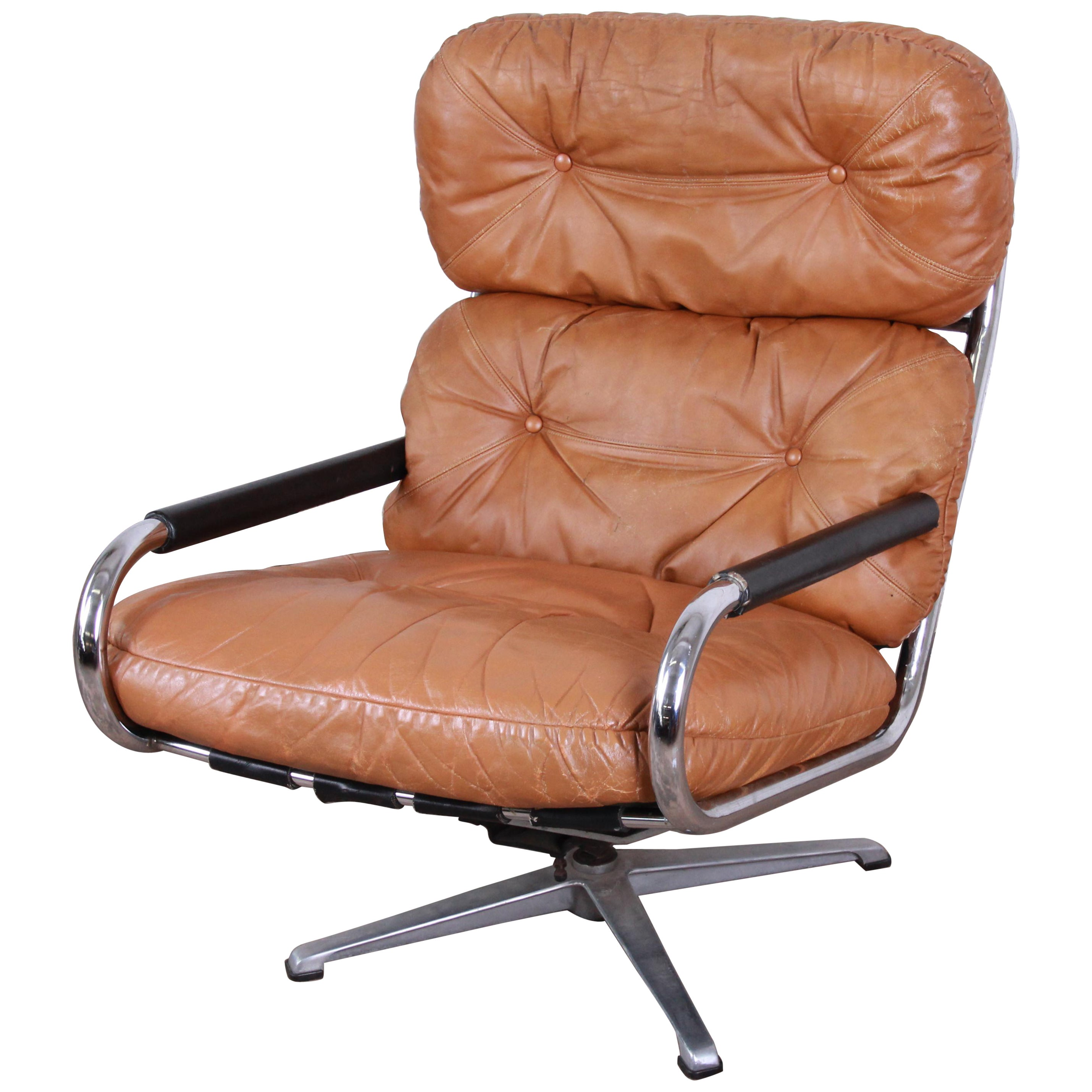 Directional Chrome and Leather Swivel Lounge Chair
