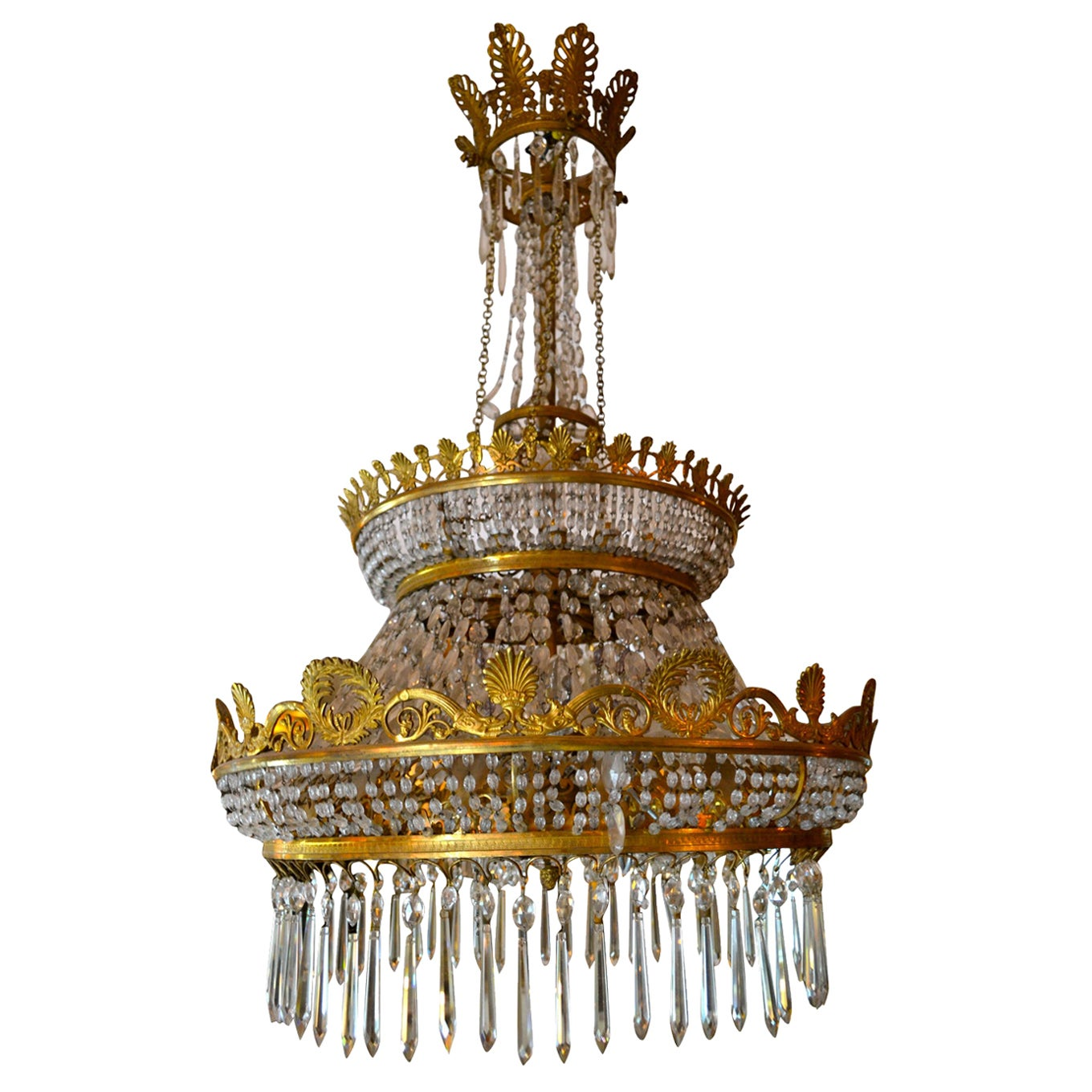 French Empire Style Triple Tiered Crystal and Bronze Chandelier