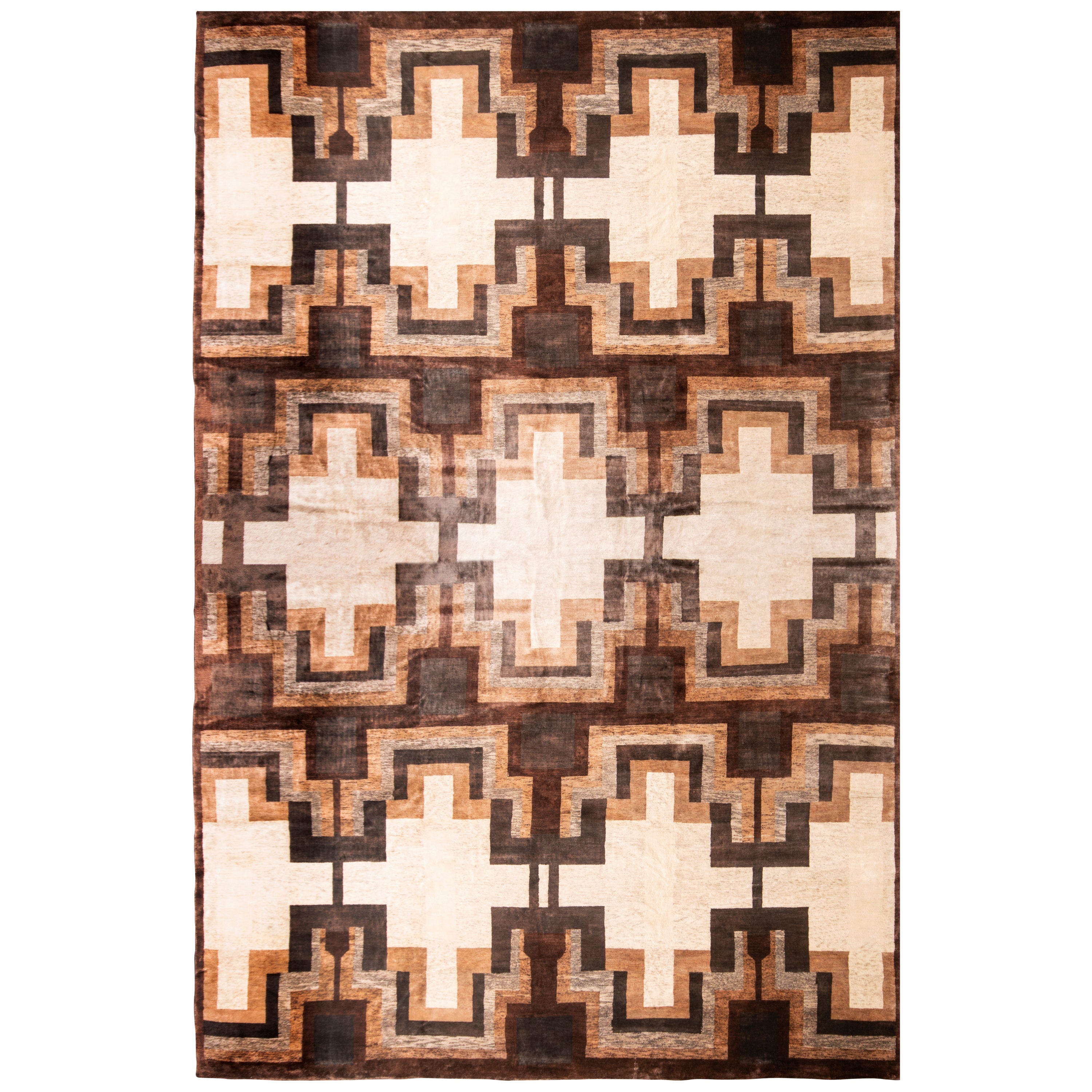 Mid-Century Modern Style Contemporary Brown and White Wool-Silk Rug