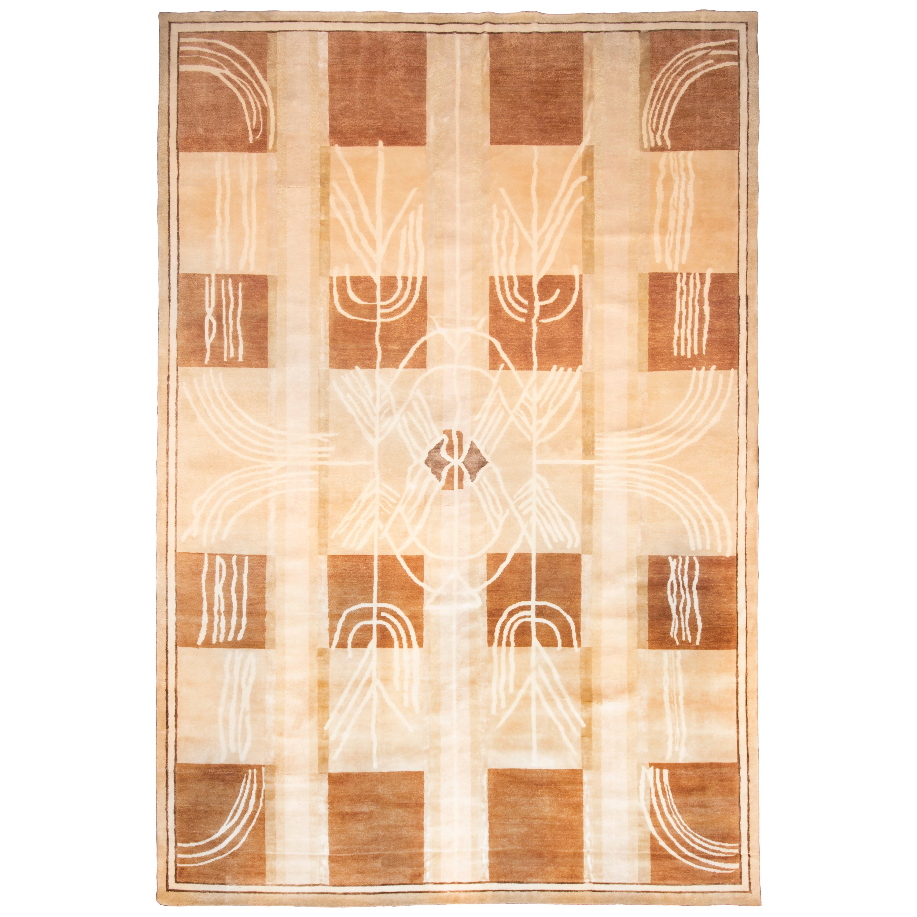 Contemporary Art Deco Style Beige and White Wool Rug with Air Design