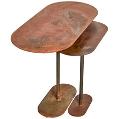 Pair of Oxidized Ellipses Table Signed by Pia Chevalier