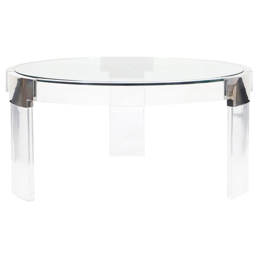 """Vintage Lucite and Chrome """"Waterfall Line"""" Coffee Table by Charles Hollis Jones"""