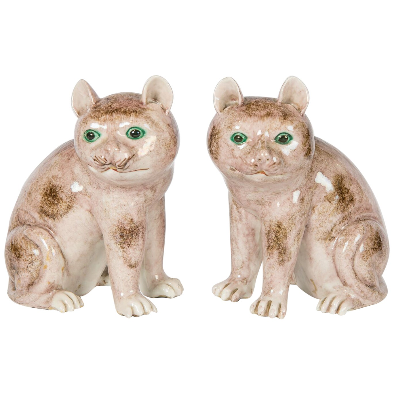 Pair of Chinese Stoneware Cats Qing Dynasty 19th Century