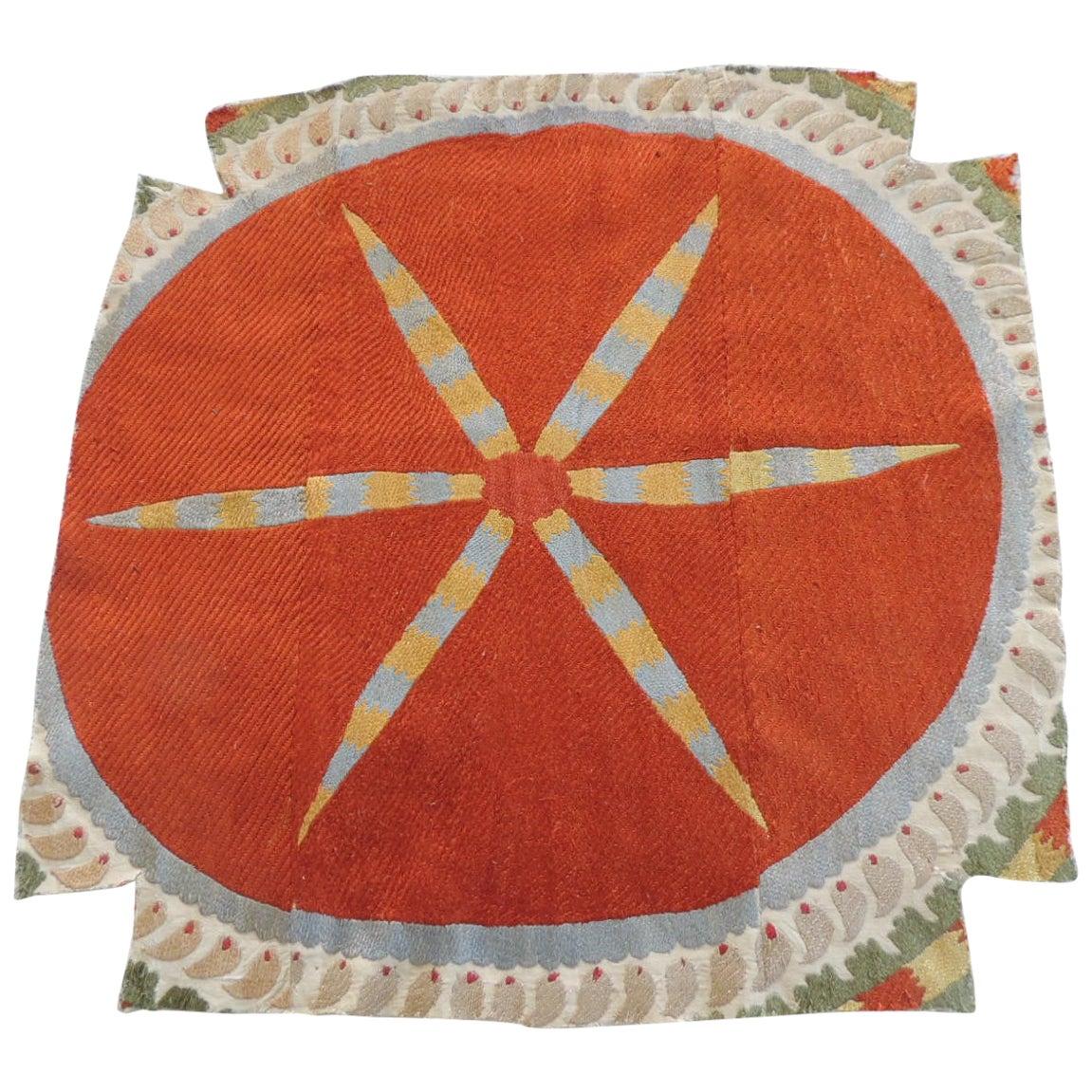 Vintage Orange and Yellow Suzani Textile Fragment