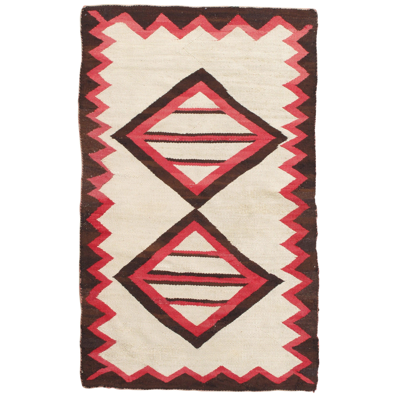 Vintage Navajo Rug, Folk Rug, Handmade Wool, Beige, Coral, Brown, Neutral