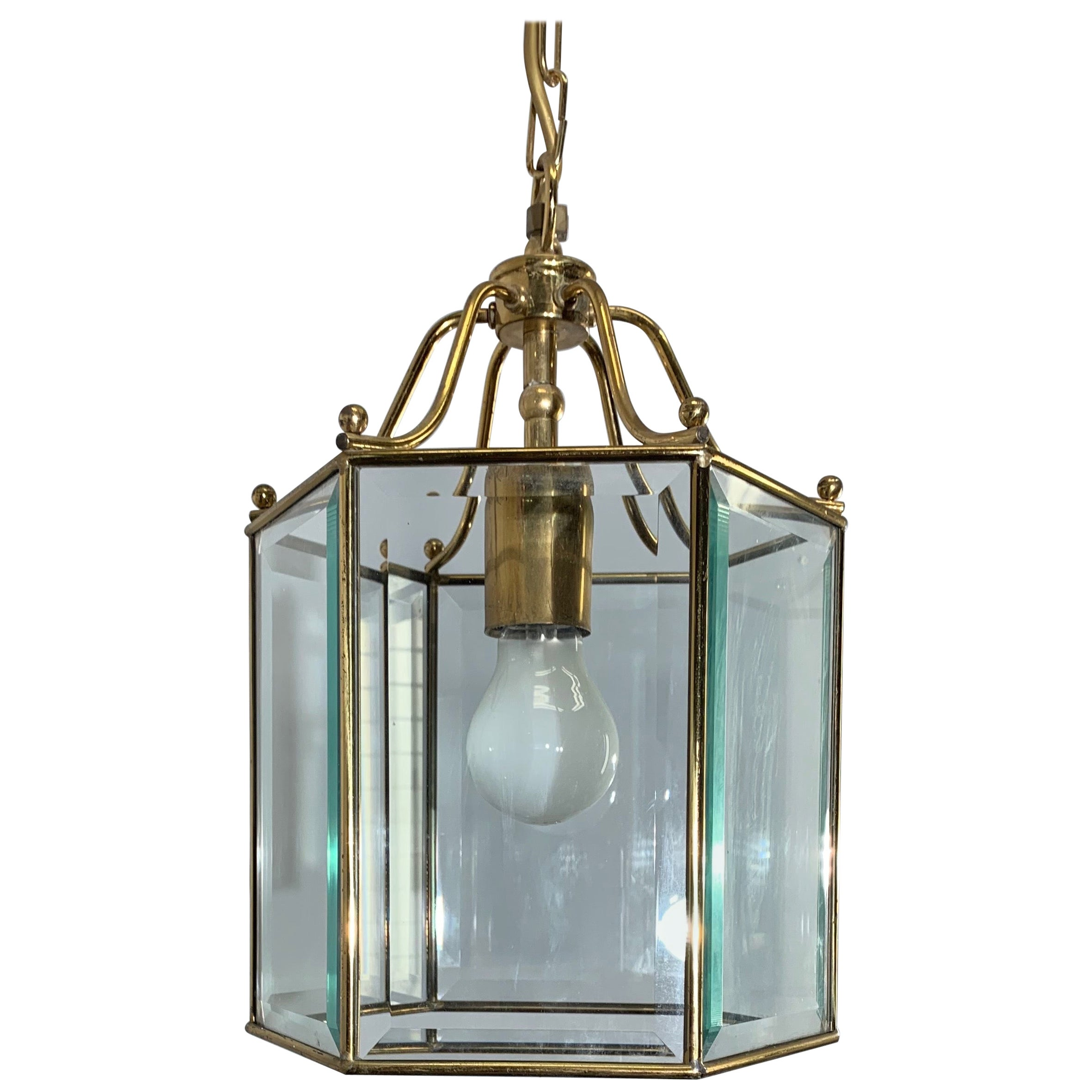 Stylish Late 20th Century Brass & Beveled Glass Hexagonal Pendant Light Fixture