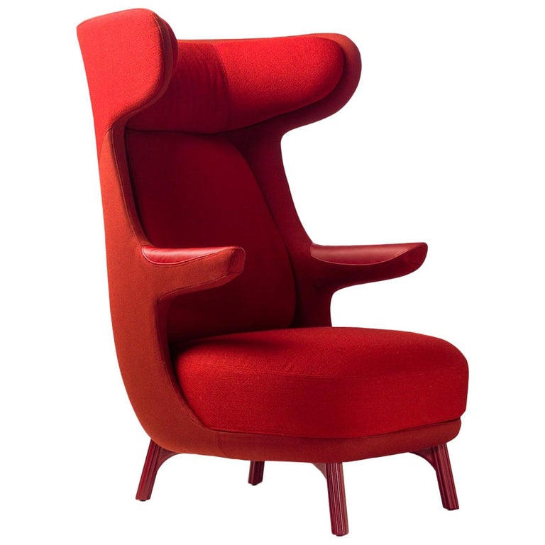 Jaime Hayon, Contemporary Monocolour Red Fabric Leather Upholstery Dino Armchair For Sale