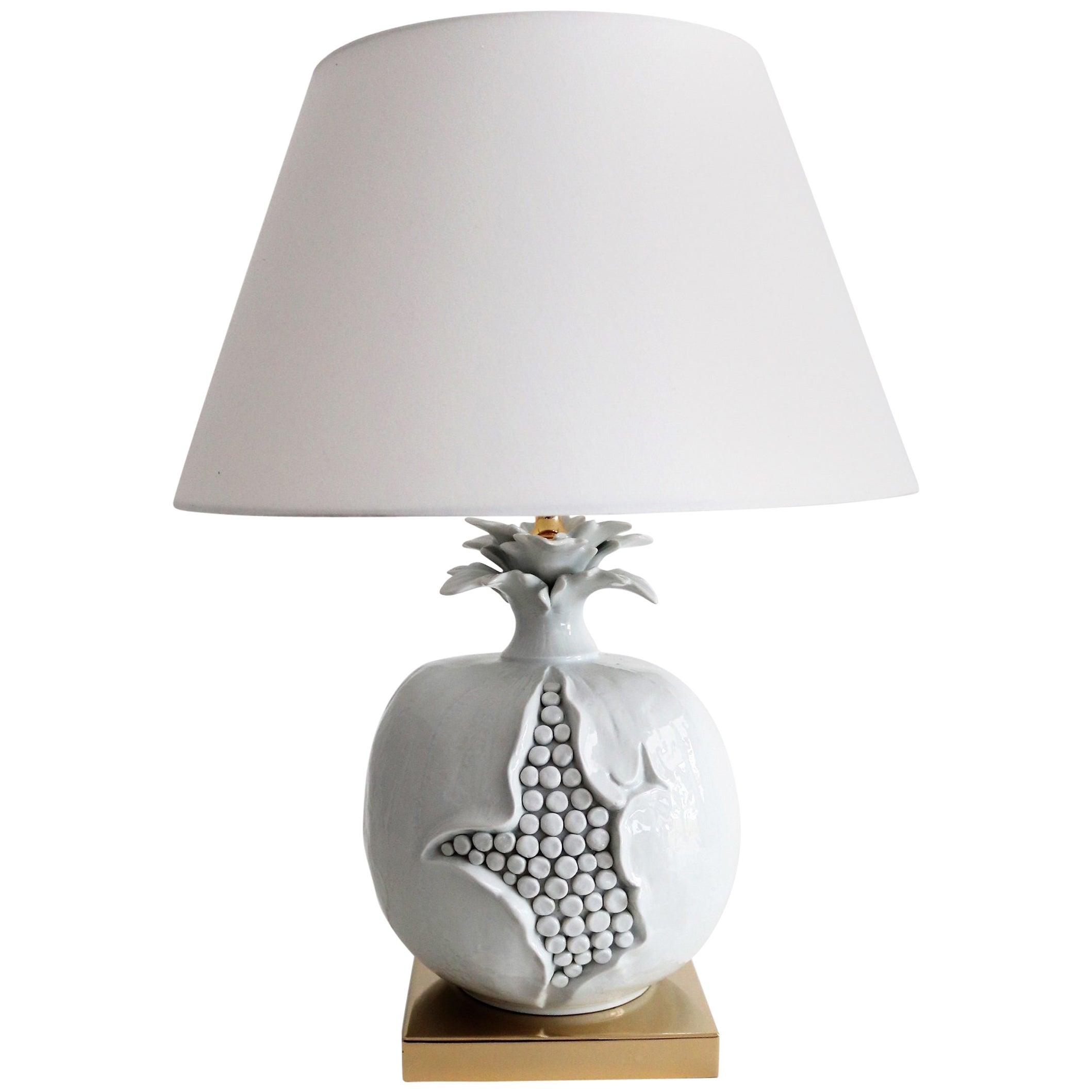 Italian Mid-Century Ceramic and Brass Table Lamp in Pomegranate Shape, 1970s