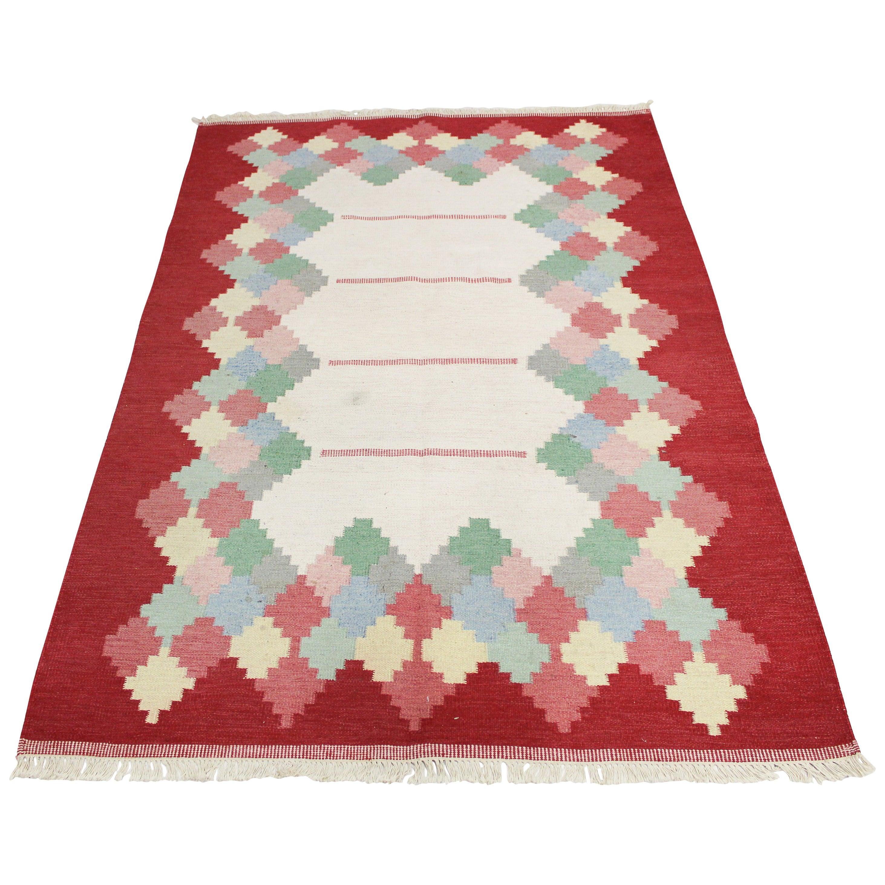 Large Midcentury Swedish Flat Weave Carpet, 1950s