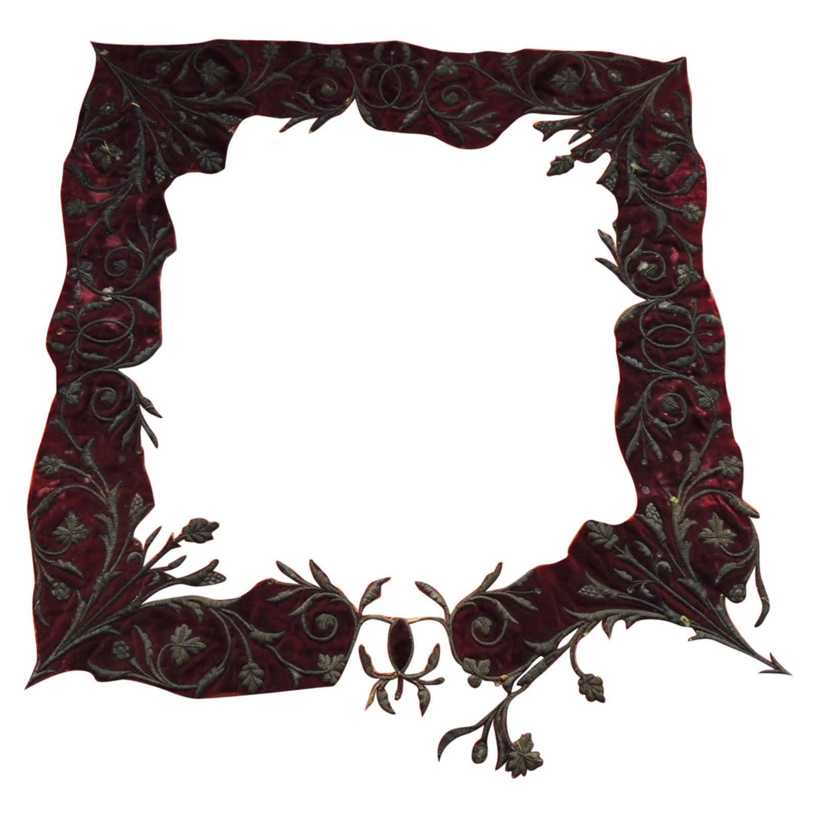 Antique Ottoman Empire Metallic Threads Embroidered Applique Textile