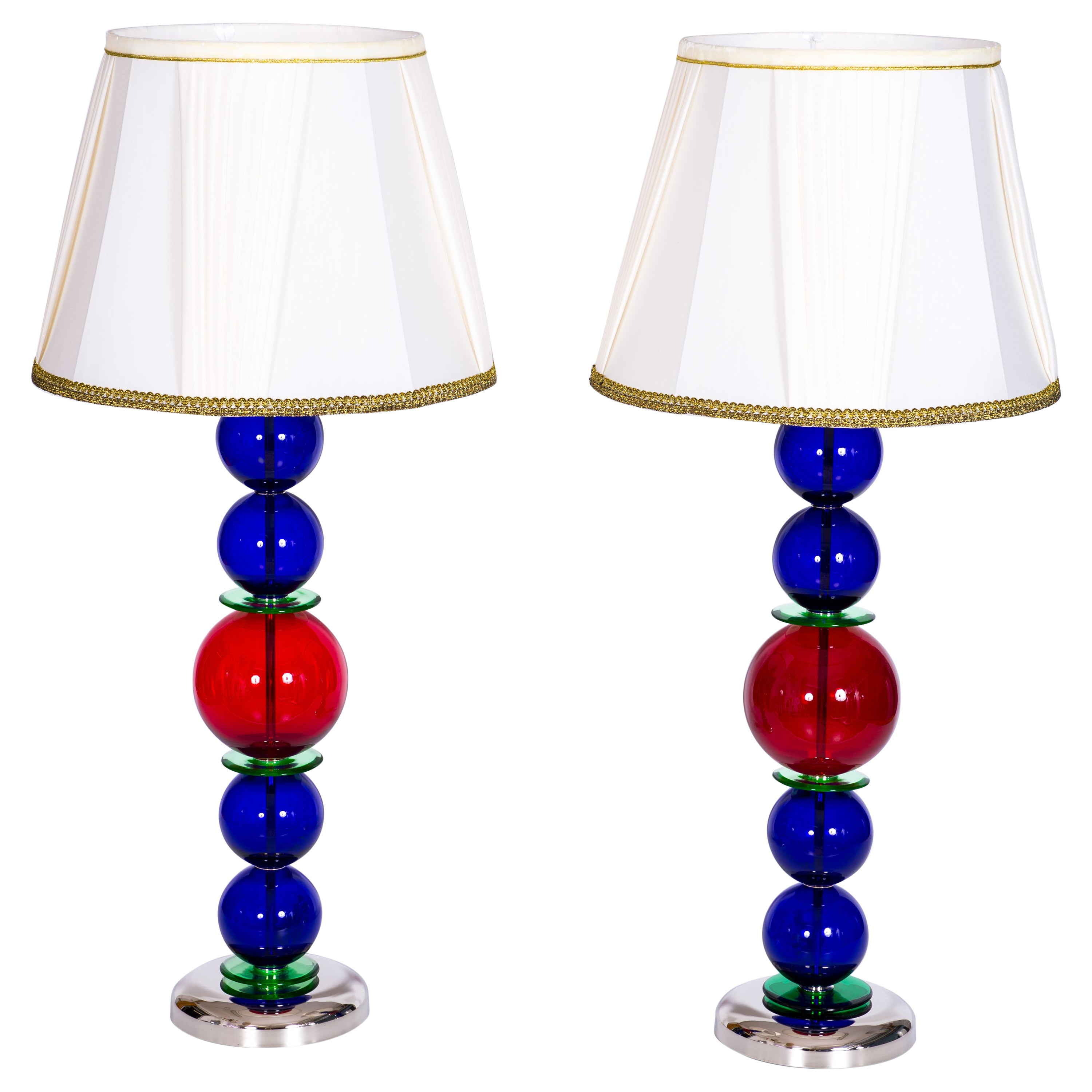 Giant Colorful Pair of  Table Lamps in Blown Murano Glass, Italy Contemporary
