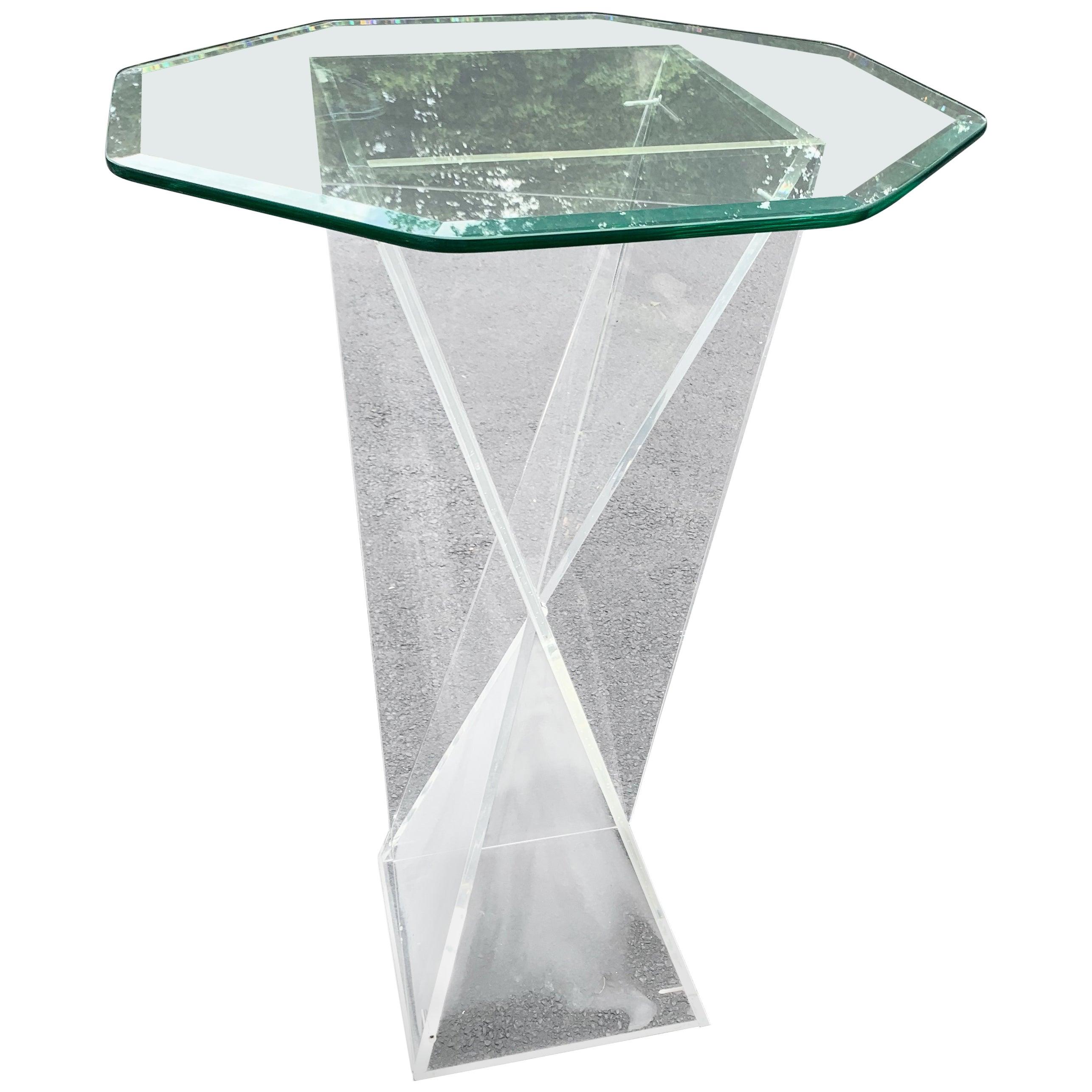 Square Mid-Century Modern Lucite Pedestal Table