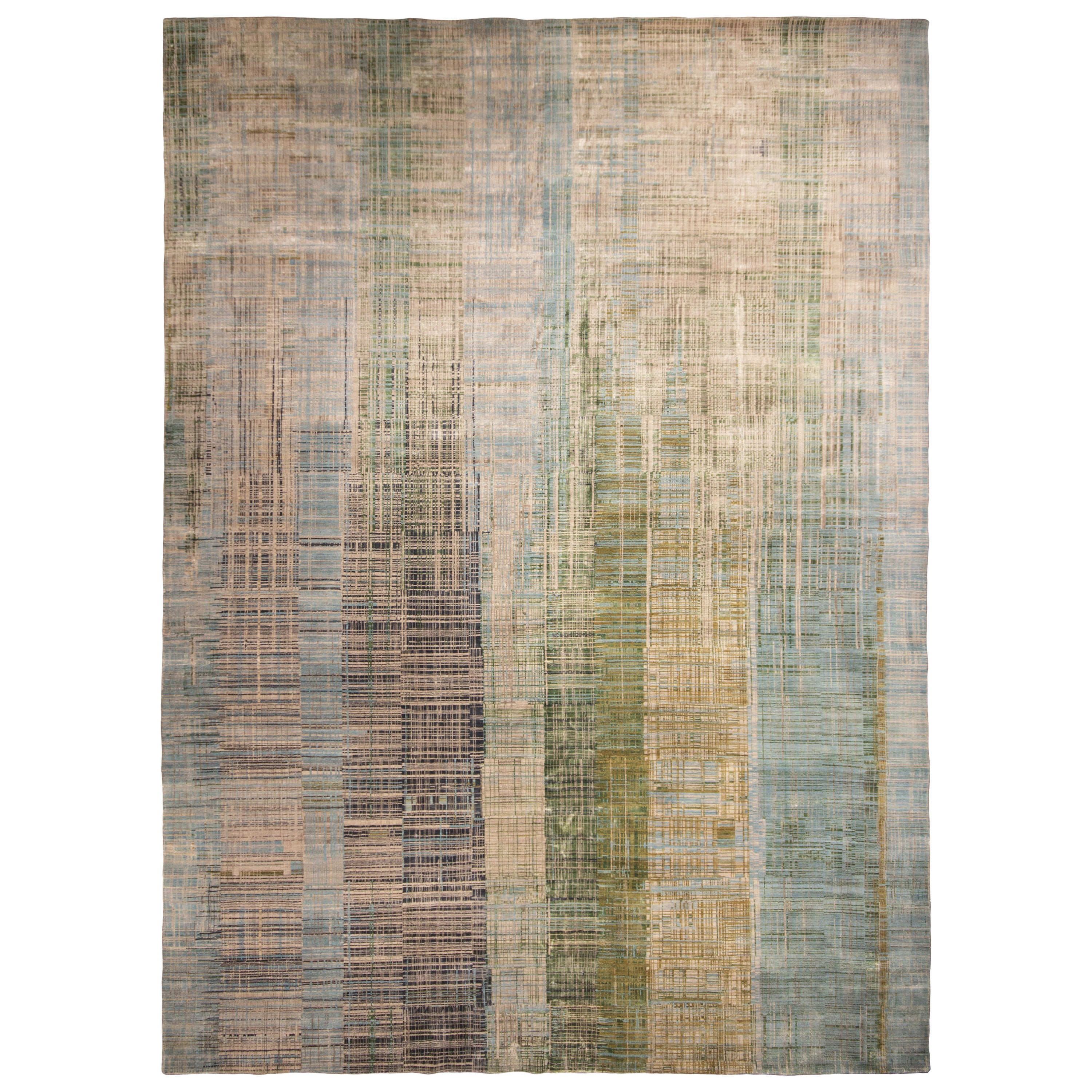 Contemporary Geometric Green and Blue Wool Rug