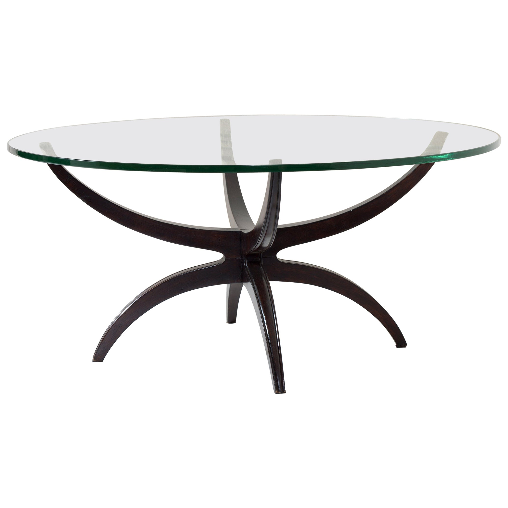 Midcentury Italian Round Coffee Table Thick Bevelled Glass Top, 1950