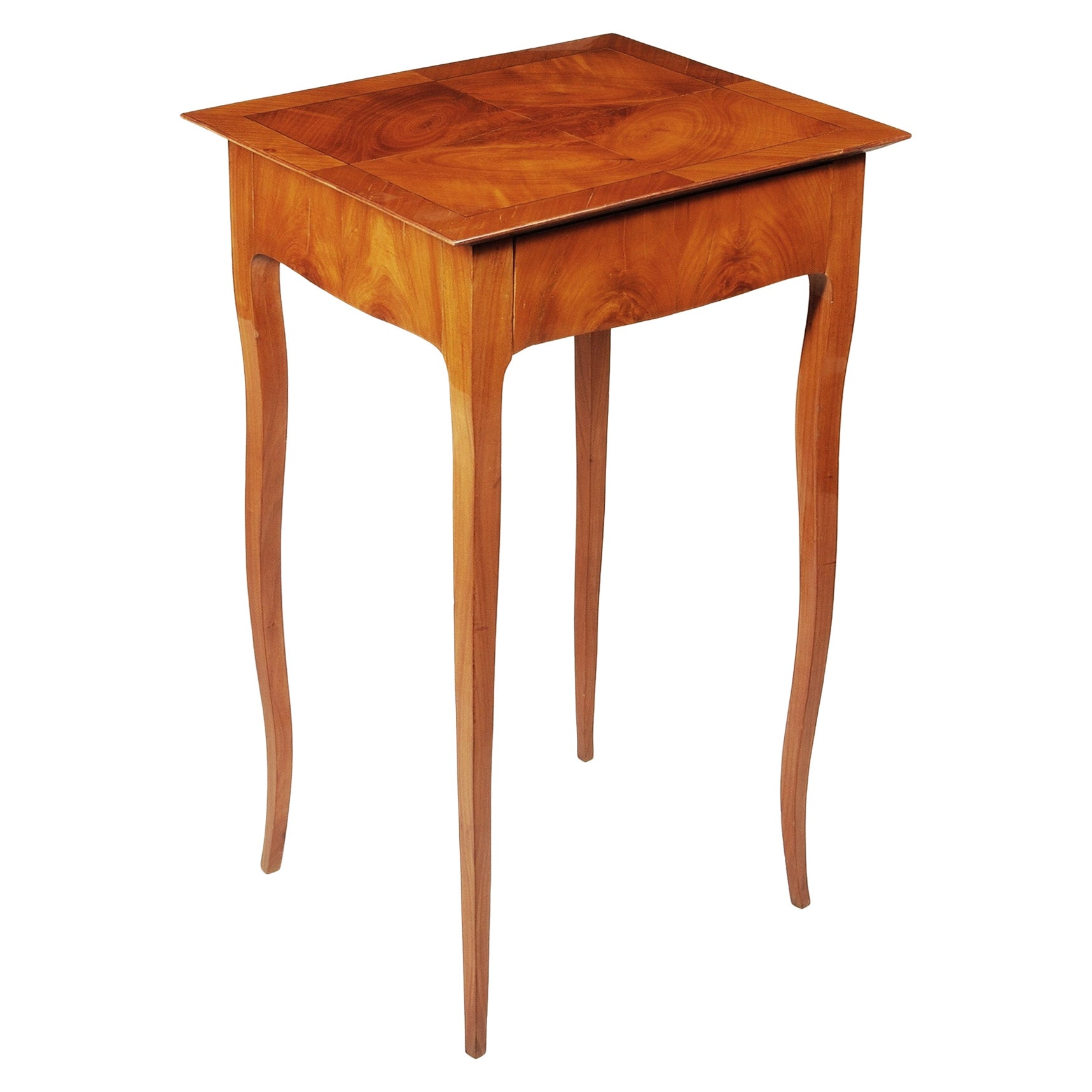 Small Cherry Biedermeier Side Table, France 1840-1849, Shellac Polished
