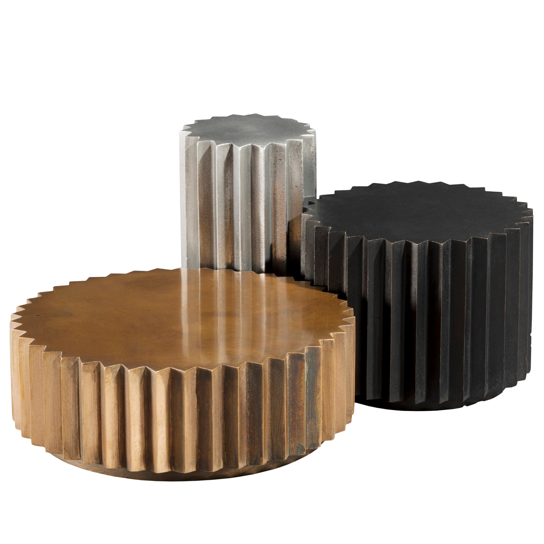 Doris Cast Bronze, Blackened Bronze and Aluminum Multifaceted Coffee Table Set