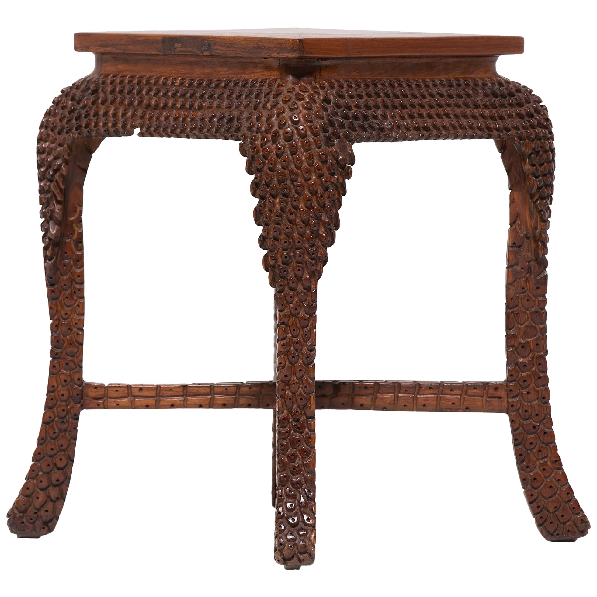 Chinese Huanghuali Dragon Scale Stool