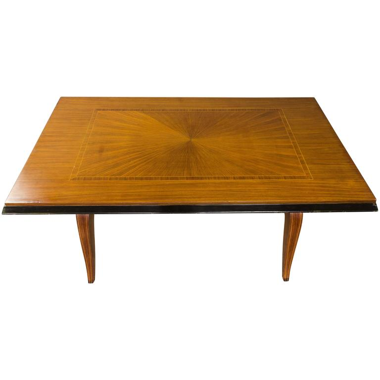 French, 1940s Mahogany Veneered Dining Table
