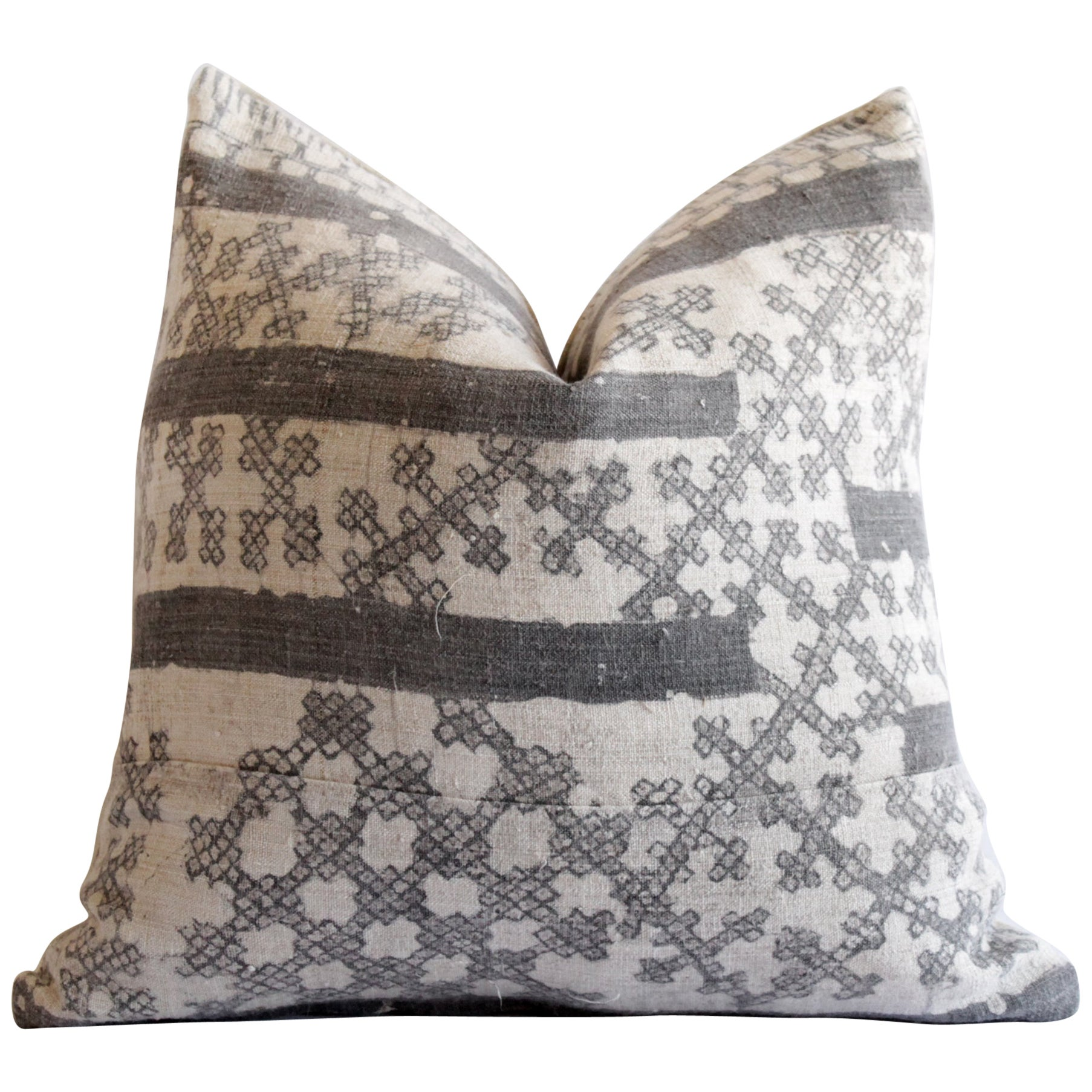 Vintage Batik Accent Pillow Charcoal and Natural Linen