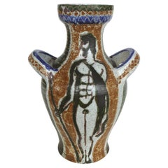 Robert Picault French Ceramic Vase, Vallauris Artist