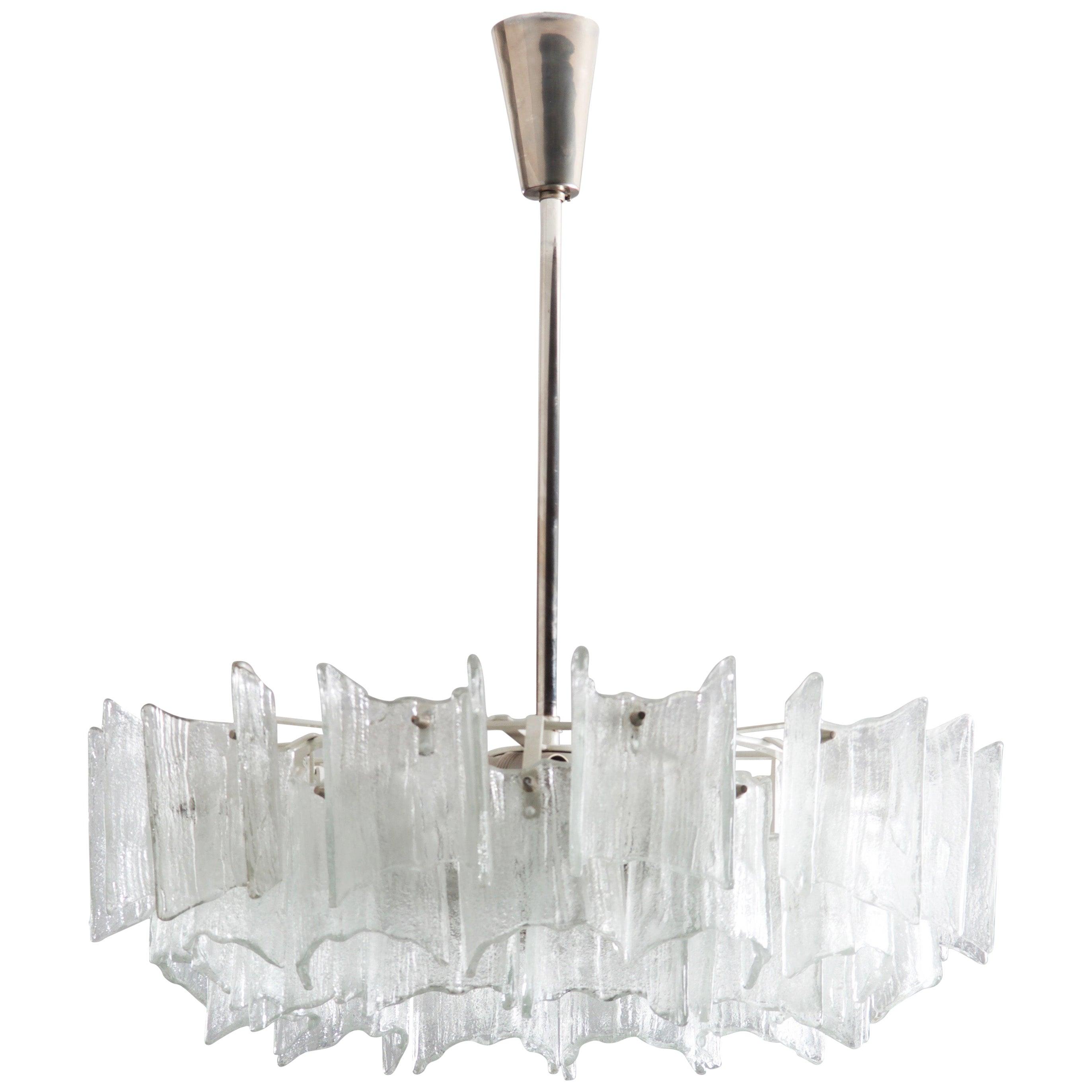 Frosted Glass Chandelier By J. T. Kalmar
