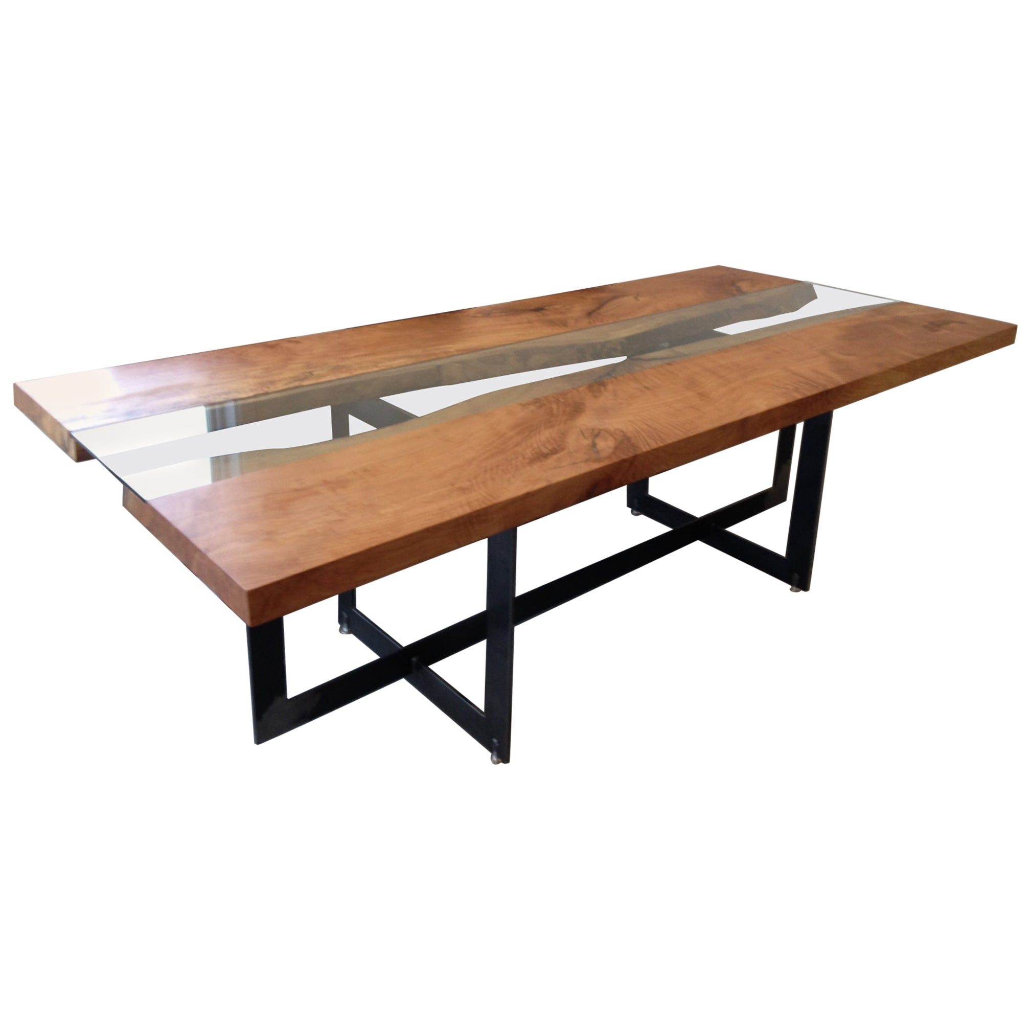 Beech Conference Table with a Central Tempered Glass