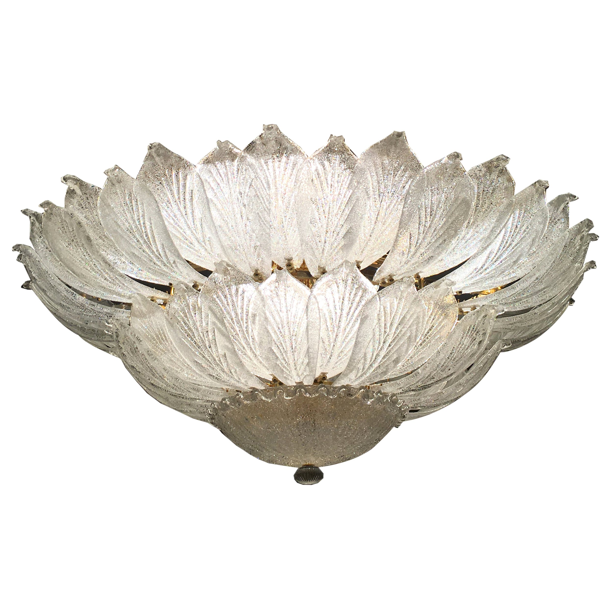 Italian Murano Glass Leave Flush Mount Chandelier