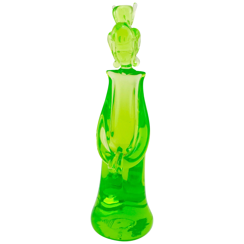 Mid-Century Modern Italian Geisha Sculpture in Green Murano Glass, 1960s