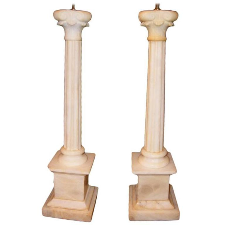 Neoclassic Carved Alabaster Table Lamps
